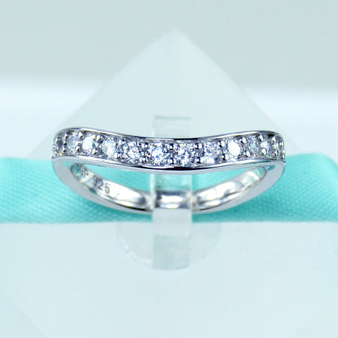 Curved Wedding Band in Sterling Silver - 6Grape Fine Jewelry