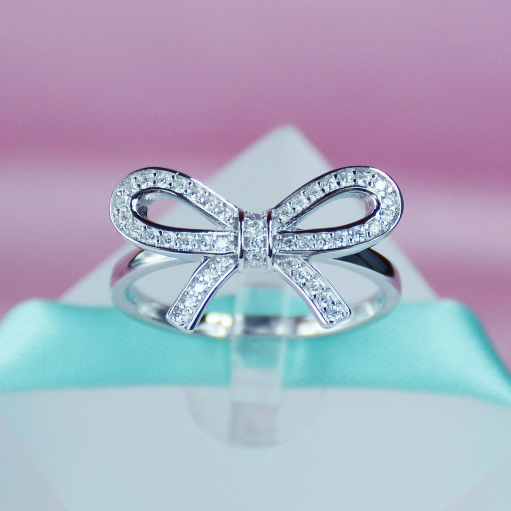 274615106 Bow Simulated Diamond Women Ring In Sterling Silver Tiffany Bow Band ...