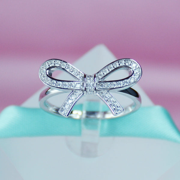 6 Crystal Pearl Photo Picture Frame Diamond Bowknot: Bow Simulated Diamond Women Ring In Sterling Silver
