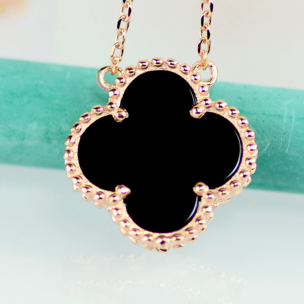 diamond emerald white clover necklace gold leaf and products