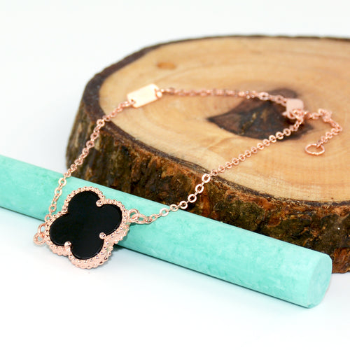 Lucky Clover Black Onyx Rose Gold Bracelet - 6Grape Fine Jewelry