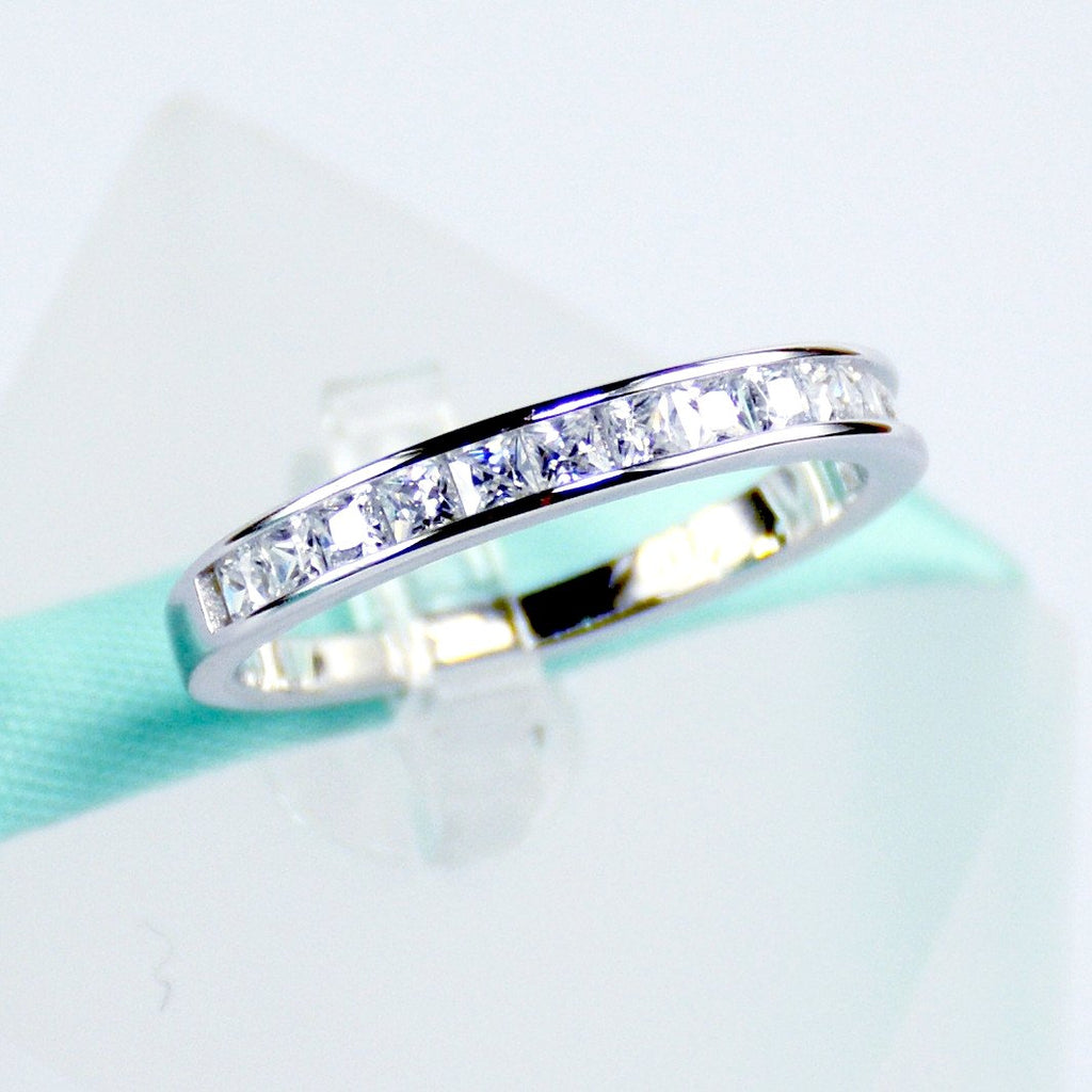 Princess Cut Simulated Diamond Womens Wedding Band In Sterling Silver