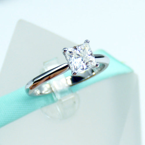 1 CT Princess Cut White Moissanite Solitaire Engagement Ring