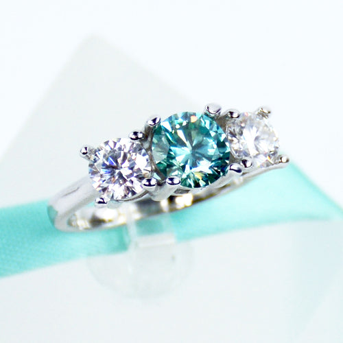 3Stone Blue&White Moissanite Engagement Ring