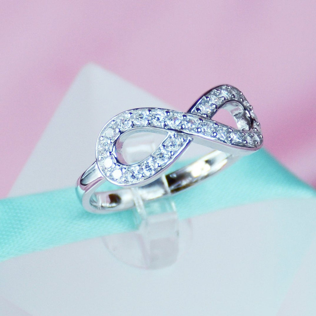 Infinity Simulated Diamond Womens Ring In Sterling Silver  6grape Fine  Jewelry