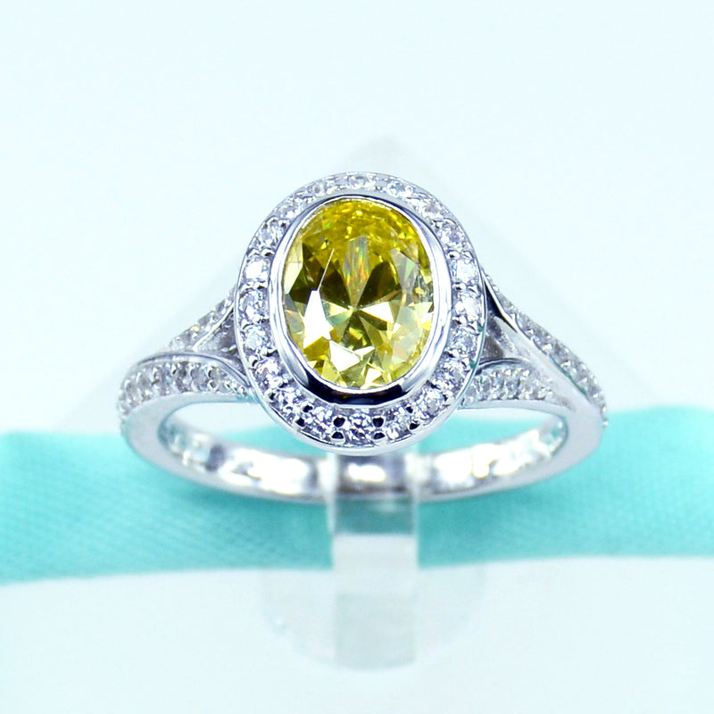 Oval Cut Yellow CZ Womens Engagement Ring in Sterling Silver - 6Grape Fine Jewelry