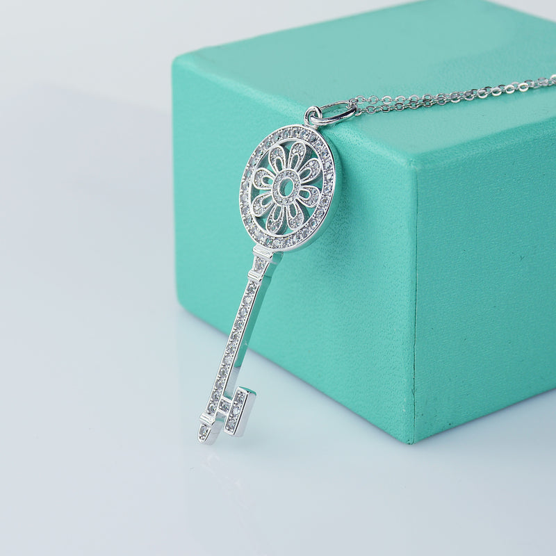 Sunflower Key Necklace In Sterling Silver - 6Grape Fine Jewelry