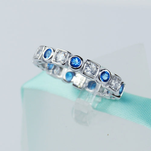 Blue Sapphire Wedding Band In Sterling Silver - 6Grape Fine Jewelry