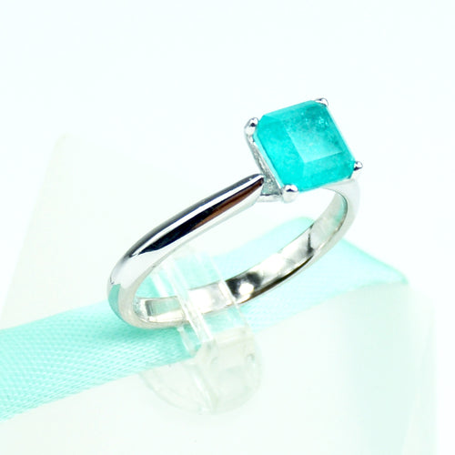 Square Blue Paraiba Tourmaline Solitaire Ring