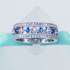 Blue Topaz & Simulated Diamond Band in Sterling Silver - 6Grape Fine Jewelry