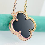 Lucky Clover Four Leaf Black Onyx Necklace In Rose Gold - 6Grape Fine Jewelry