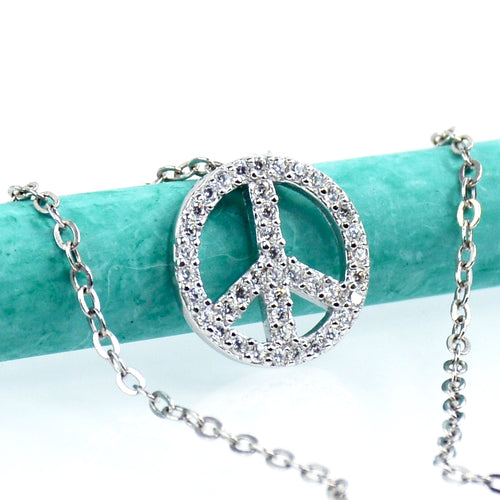 Peace Sign Necklace In Sterling Silver - 6Grape Fine Jewelry