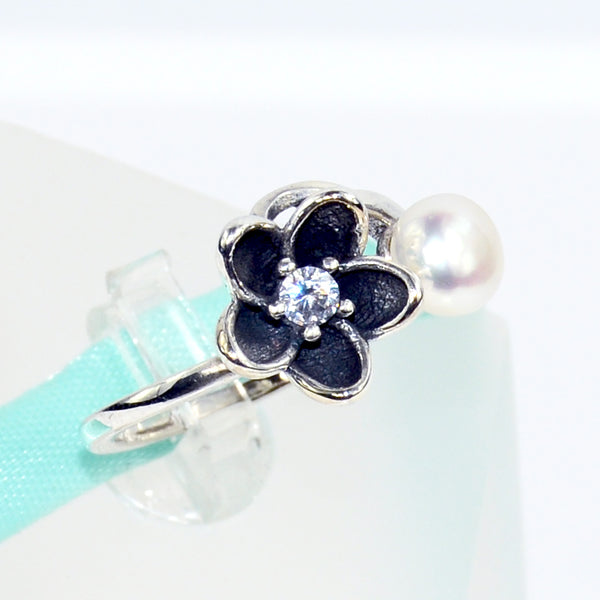 Black Floral Pearl Ring Sterling Silver - 6Grape Fine Jewelry