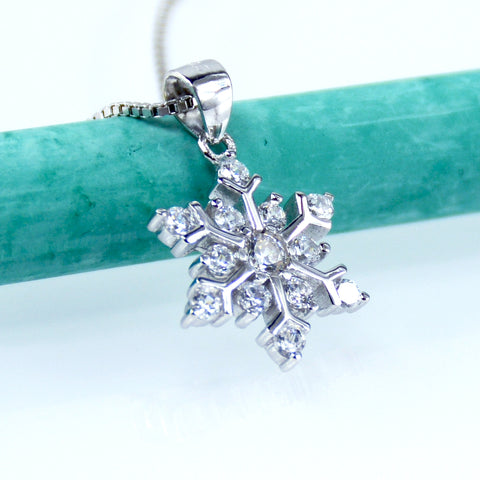 Snowflake Simulated Diamond Necklace In Sterling Silver - 6Grape Fine Jewelry