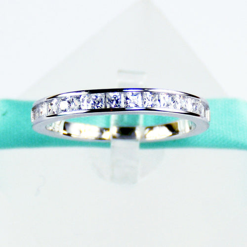 Princess Cut Wedding Band in Sterling Silver - 6Grape Fine Jewelry