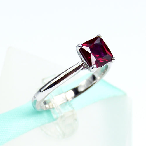 Square Red Ruby Solitaire Ring