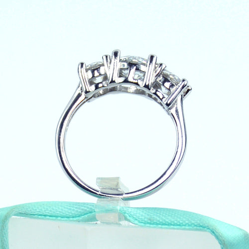 Three Stone White Moissanite Engagement Ring