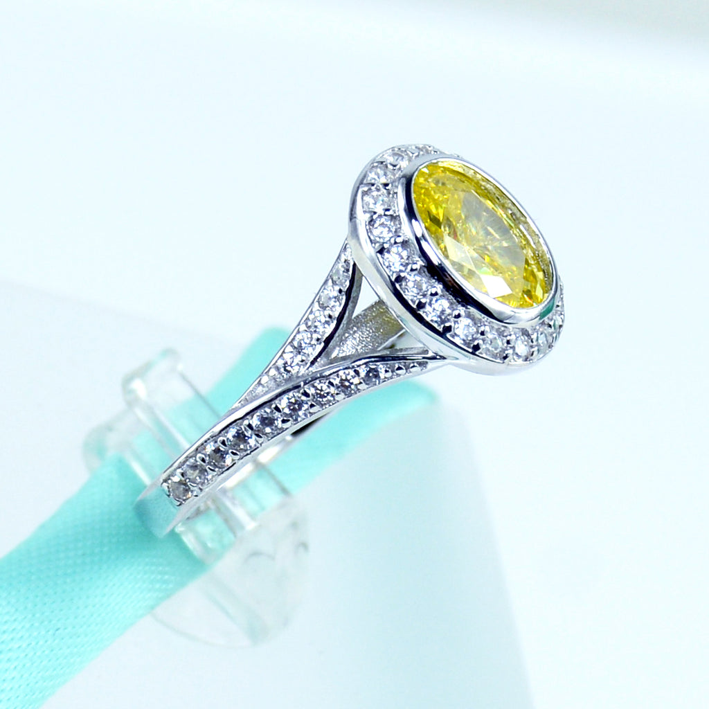 oval cut yellow cz womens engagement ring in sterling silver 6grape fine jewelry - Yellow Diamond Wedding Ring