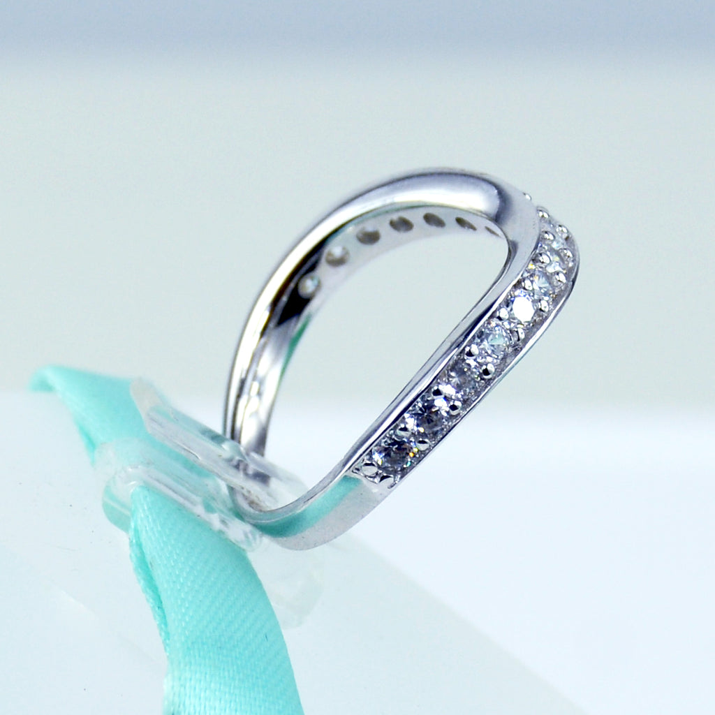 diamonique silver band overlay l baguette sterling sz platinum ring eternity