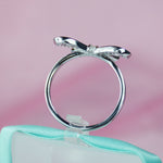 Bow Simulated Diamond Ring In Sterling Silver - 6Grape Fine Jewelry