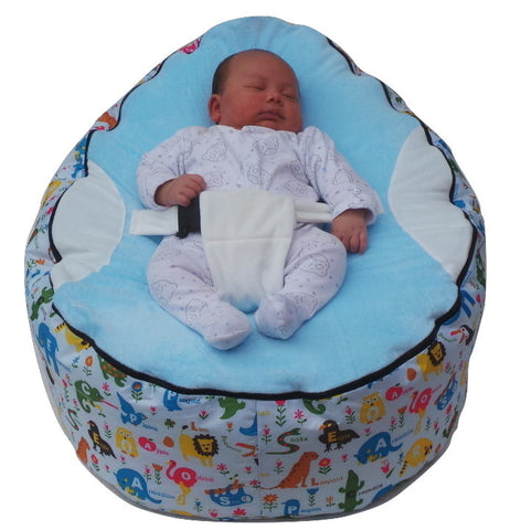 Extra Large Series - Animal Light Blue Baby Bean Bag - Mama Baba                                                                     Baby Bean Bag World