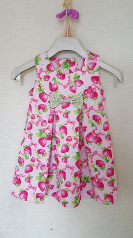 1d Vintage style Girls Strawberry summer party holiday dress from age 1 to 8