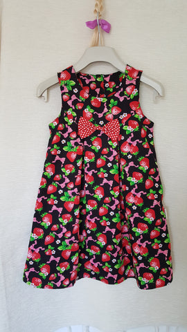 1c Vintage style Girls Strawberry summer party holiday dress from age 1 to 8