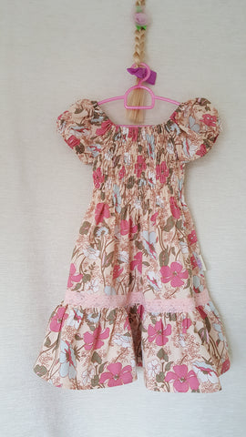 2a Vintage style Girls Floral summer party holiday dress from age 1 to 8