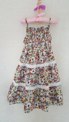 8b Vintage style Girls Floral summer party holiday dress from age 1 to 8
