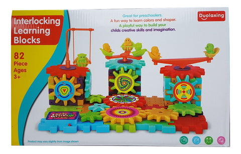 82 Piece Funny Bricks Interlocking Learning Building Blocks Toy Set
