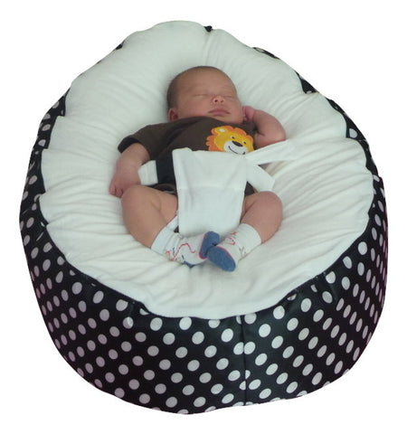 Extra Large Series - Polka Black & White Baby Bean Bag - Mama Baba                                                                     Baby Bean Bag World
