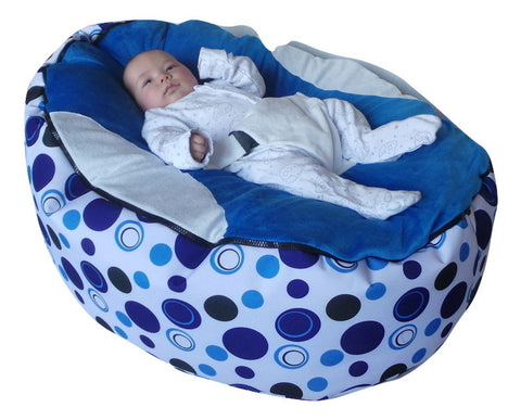 Extra Large Series - Spotty Blue Baby Bean Bag - Mama Baba                                                                     Baby Bean Bag World
