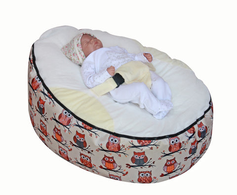 Owls Series - Owls Beige Baby bean bag