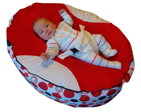 Extra Large Series - Spotty Red Baby Bean Bag - Mama Baba                                                                     Baby Bean Bag World