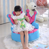 Crown Princess Children Bean Bag Sofa chair Kids Bean bag with Filling - Pink + Blue