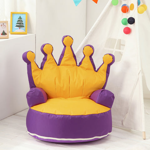 Enjoyable Crown Princess Children Bean Bag Sofa Chair Kids Bean Bag With Filling Purple Yellow Ibusinesslaw Wood Chair Design Ideas Ibusinesslaworg
