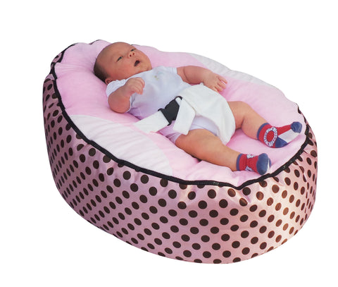 Spotty Series - Pink Polka dot Baby Bean Bag - Mama Baba                                                                     Baby Bean Bag World                   - 1