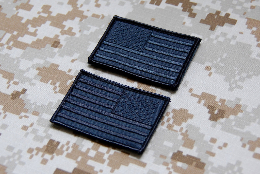 Blackout American Flag Patch Set - Always Outnumbered Morale Patches