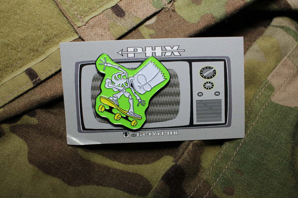 Skate Or Die Bart Lapel Pin  50% OFF - Always Outnumbered Morale Patches