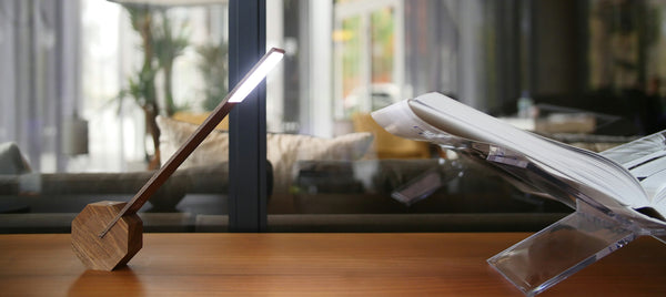 Ging-Ko Octagon Desk Lamp - Walnut