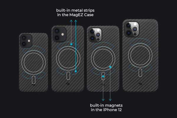 position of magnets in iPhone 12 and metals in the PITAKA MagEZ Case