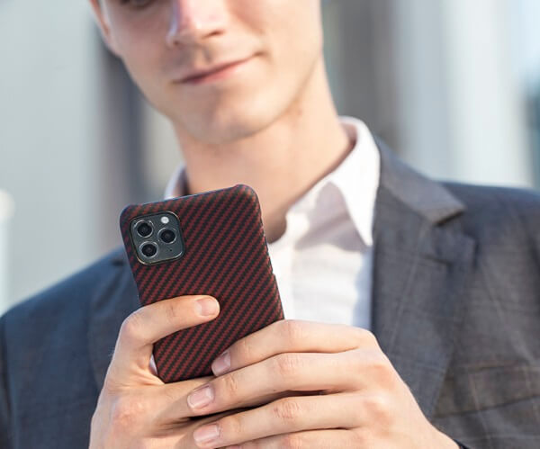 The black and red iPhone case from PITAKA