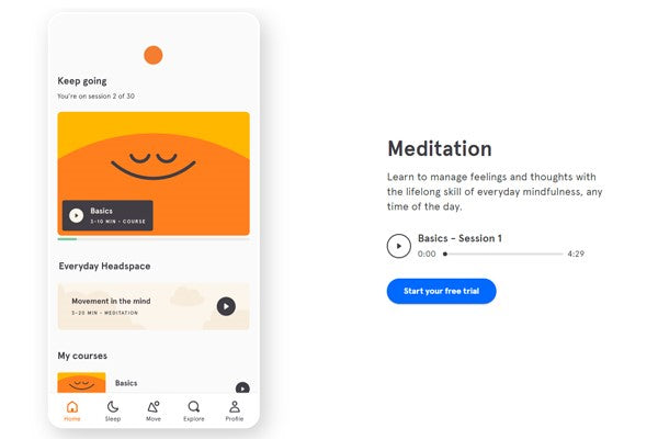 Headspace iPhone productivity app