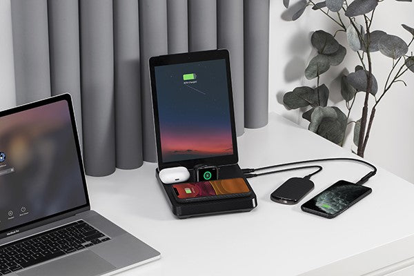 home office with organized desk 6-in-1 charger