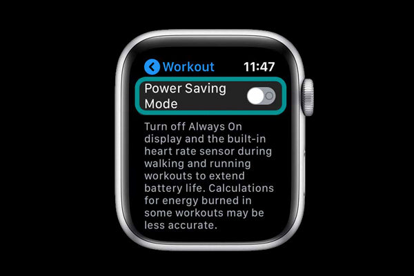 turn on Workout Power Saving Mode to save battery life