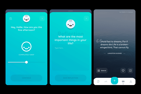 Reflectly app for mood tracking and journaling