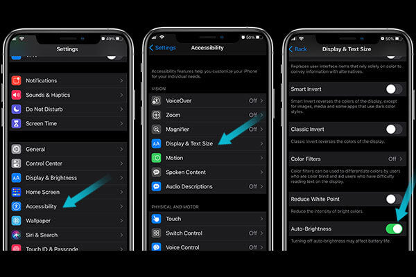 Turn on auto-brightness to keep your iphone battery draining fast