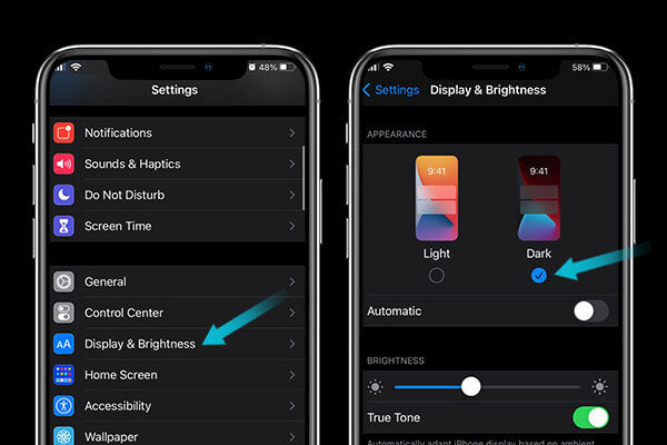Turn on dark mode so your iphone battery stop draining fast