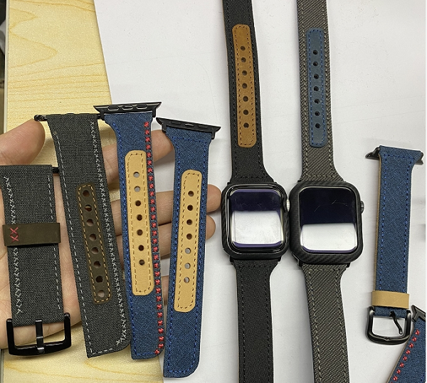 Fabric and leather Apple Watch band sample from PITAKA