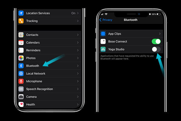 Turn off bluetooth for apps that don't need it to stop your iphone battery draining fast